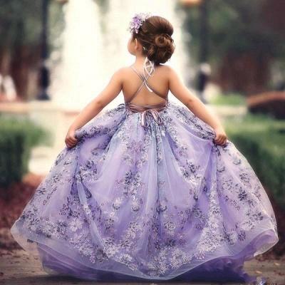 Fee Liac A-Linie Spitze trägerlos und überqueren dünne Träger Blumenmädchenkleider | Günstige bodenlangen Little Girl Pageant Kleider_3
