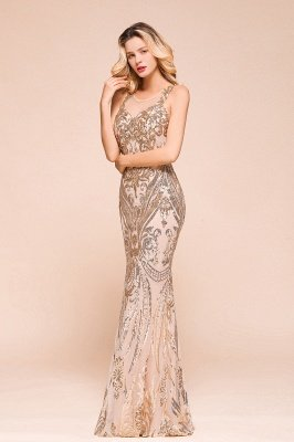 Sparkle Sequined High neck Sleevelss Rose Gold Mermaid Long Evening Dresses_4