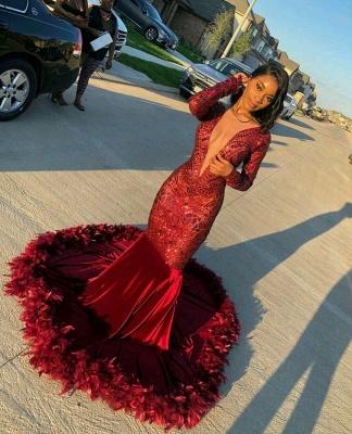 Burgundy V-neck Long sleeve Sequined Mermaid Velvet Fur Prom Dresses_3