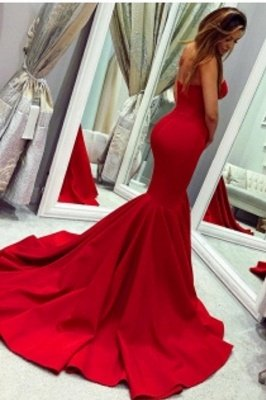 Sey Red Satin Mermaid Sleeveless Sweetheart bodenlangen rückenfreie Ballkleider | Günstige Abendkleider Mit Reißverschluss_2