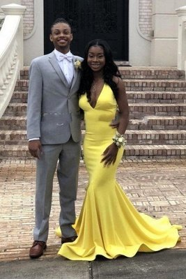 Sexy Backless V-neck daffodil Affordable Mermaid Prom Dress Online