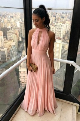 Simple High neck Chiffon Keyhole Sleeveless Candy pink Cheap Prom Dress