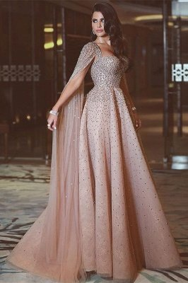 Sparkly Sequin Long Crystals Long Tulle Prom Dresses_1