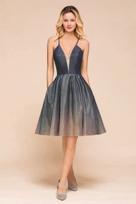 Arlana | Chic Ombre Short Spaghetti Strap Prom Dress for Homecoming, Party, Cocktail
