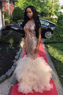 Gold Sleeveless V-neck Appliqued Ruffled Tulle Mermaid Prom Dresses