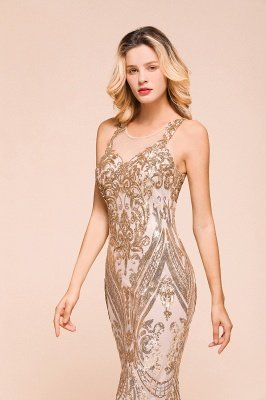 Sparkle Sequined High neck Sleevelss Rose Gold Mermaid Long Evening Dresses_7