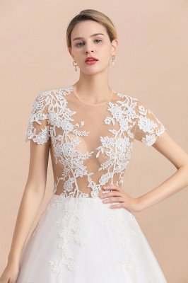Elegant White Short Sleeves Ball Gown Buttons Lace Applique Wedding Dress_8