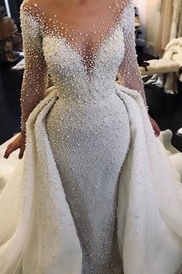 Ivory Long Sleeves Despatchable Train V-neck Button Wedding Dress with Fully coverd Pearls
