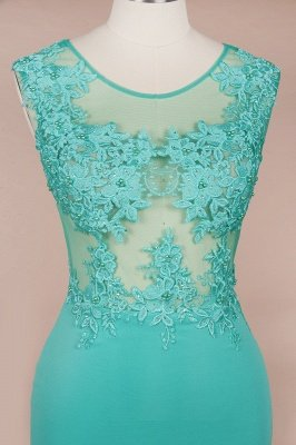 Arrick | Mint Green round neck Cap sleeve Lace appliques Prom Dress_7