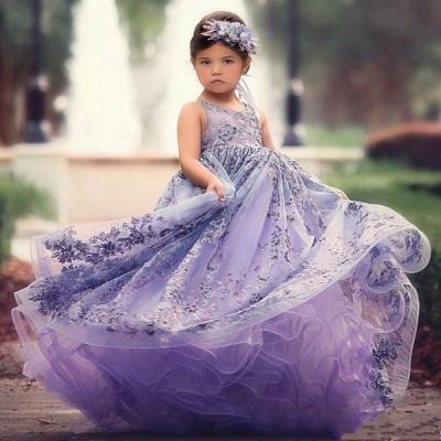 Fee Liac A-Linie Spitze trägerlos und überqueren dünne Träger Blumenmädchenkleider | Günstige bodenlangen Little Girl Pageant Kleider_2