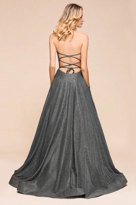 April | Strapless A-line High Slit Gray Shiny Sequined Prom Dress_4