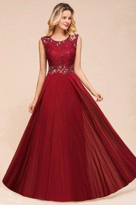 Arla | Trendy Round neck Beaded Burgundy Lace Bridesmaid Dress with Belt_6