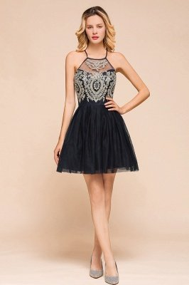 Arleana | Elegant Halter Princess Black Short Homecoming Dress