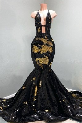 Sexy Hollow Neckline Gold and Black Long Train Mermaid Evening Dresses