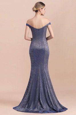 Elegant Off-the-shoulder Sparkly Sequin Long Gray Prom Dress with Floor length Train_3