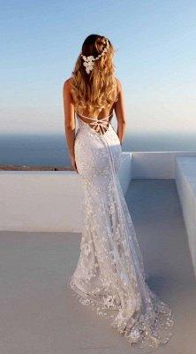 Longueur ras du sol en dentelle Spaghetti Col en V Dos ouvert Robes de bal | Robes de soirée bon marché avec lacets_3