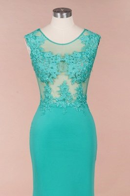 Arrick | Mint Green round neck Cap sleeve Lace appliques Prom Dress_6