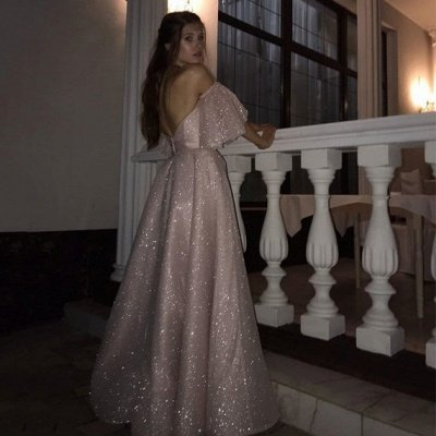 Sparkle Pearl Pink Sequined High Split A-line Prom Dress with Bracelet_4