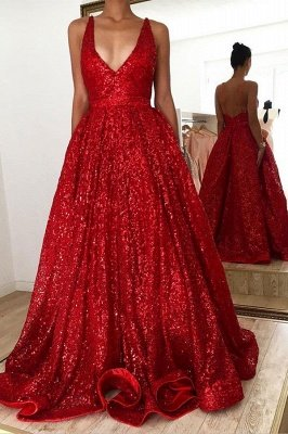 Hot Ruby backless Shining Sequin V-neck Ball Gown Evening Gowns Online