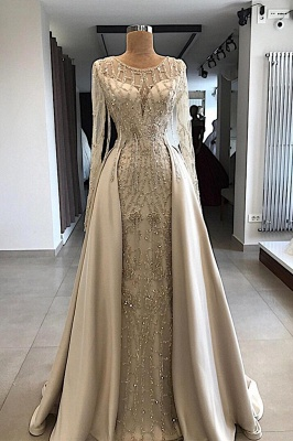 Shining Beaded Long Sleeves Round Neck Prom Dresses With Over Skirt | A Line Evening Gowns_1
