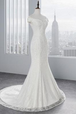 Elegantes schulterfreies Brautkleid aus weißer Meerjungfrau_4