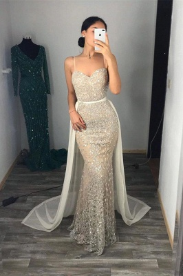 Bling Sheath Spaghetti Straps Beading Sweetheart Neckline Thin Straps Sleeveless Prom Dresses   Cheap Tight Party Gowns_2