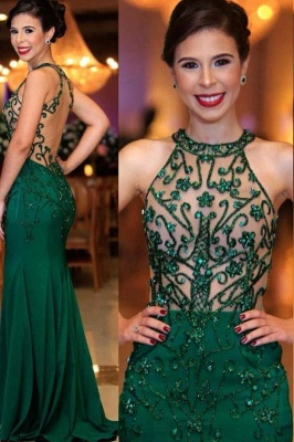 Sexy Sleeveless Round Neck Beading Prom Dresses With Open Back | Cheap Dark Green Evening Gowns_1
