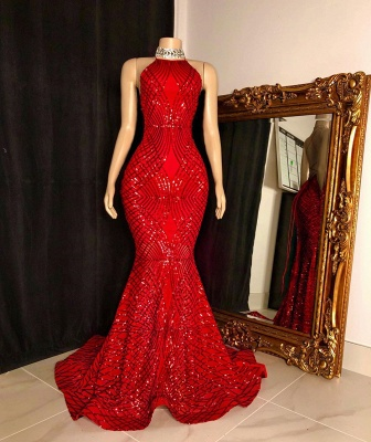 Halter Lace-up Sequins Floor Length Red Mermaid Prom Dresses_2