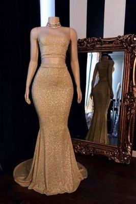 Champagner Zweiteilige trägerlose lange Meerjungfrau Ballkleider mit Halsreif