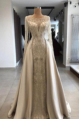 Shining Beaded Long Sleeves Round Neck Prom Dresses With Over Skirt | Cheap A Line Evening Gowns