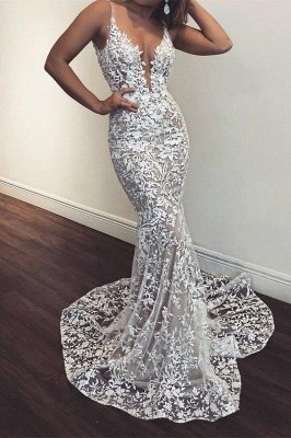 Sexy Mermaid White Lace V Neck Sleeveless Prom Dresses | Cheap Party Gowns