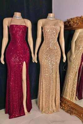 Spaghetti-straps Criss-cross Long Slit Sequins Mermaid Prom Dresses