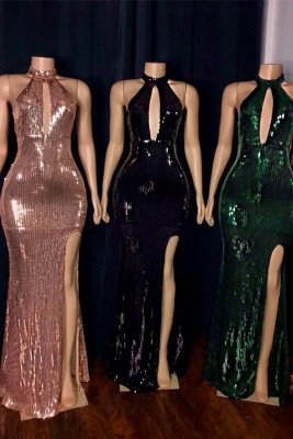 Shiny Sequins Halter Keyhole Neckline Front Slit Mermaid Prom Gowns