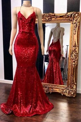 V-neck Sleeveless Spaghetti Sequins Mermaid Long Prom Dresses