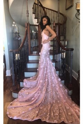 Pink Floral Appliques Lace Halter Court Train Mermaid Prom Dresses