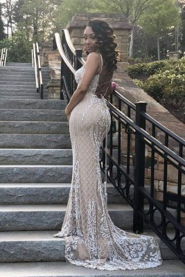 Gorgeous Beading Appliques Spaghetti Lace-up Long Mermaid Evening Dresses