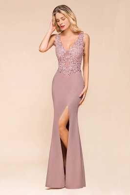 Charming 3D Lace Appliques Mermaid Prom Dress Sleeveless Floor Length Side Slit Evening Gown_10