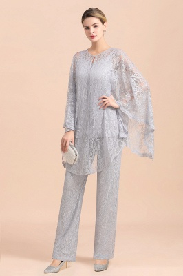 Trendy Long sleeves Silver Lace Wraps V-Neck Mother of Bride Jumpsuit_4