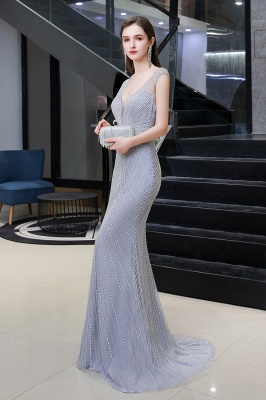 Sexy Meerjungfrau V-Ausschnitt Silber Meerjungfrau Ballkleid_6