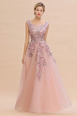 Sleeveless Crew Neck Tulle Floral Appliques Evening Party Dress Floor Length Aline Party Dress_5