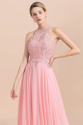 Modest Pink Pears Beaded A-line Halter Bridesmaid Dresses_20
