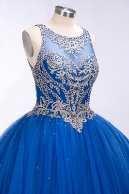Royal Blue Illusion neck Ball Gown Fully Beaded Bodice Prom Dress_3