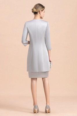 Silver two-pieces round neck Short Fall Mother Of the Bride Dress_3