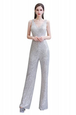 Sexy Shining V-neck Silver Sequin Sleeveless Prom Jumpsuit_26
