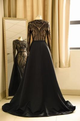 Vestido de fiesta de lujo con cuello redondo y lentejuelas negras_3