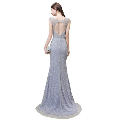 Sexy Mermaid V-neck Silver Mermaid Prom Dress_26