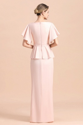 Cap sleeves V-neck Pink Two pieces Long mother of the bride dress_3