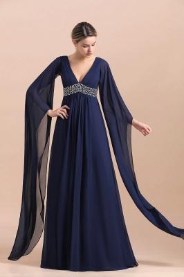 Azul marino oscuro Escote en V profundo Cintura alta Una línea Cinturón moldeado Vestidos para madre_7