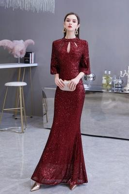 Glittering Half Sleeves Keyhole Mermaid Long Burgundy Prom Dress_5