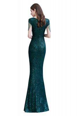 Shining Sequined Emerald Green Mermaid Cap sleeve Long Prom Dress_14